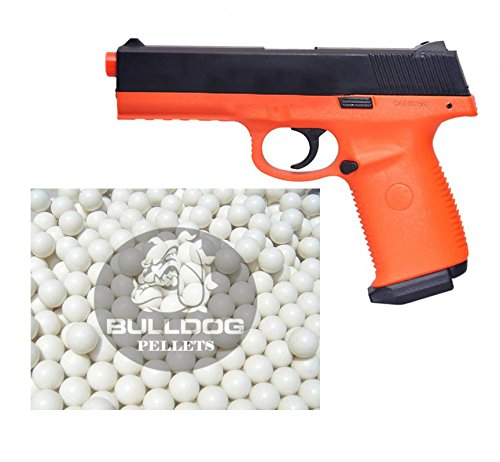 Double Eagle Softair Federdruck Pistole USP Stil Orange/Schwarz Airsoft Spring Pistol, Hop Up, 0.5 Joules, M27, Gratis Bulldog Airsoft 2000 BBS (Double Eagle Softair)
