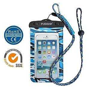 FUDIUH Waterproof Case / Custodia Impermeabile Smartphone Universale Compatibile con 6 pollici per iphone 5 ,5S,SE,6,6S,6 Plus, 6S Plus,Samsung Galaxy 4 5 6,Note 2 3 4 5,Huawei,HTC,VIVO ecc (6 Pollici) (Mimetico Blu)
