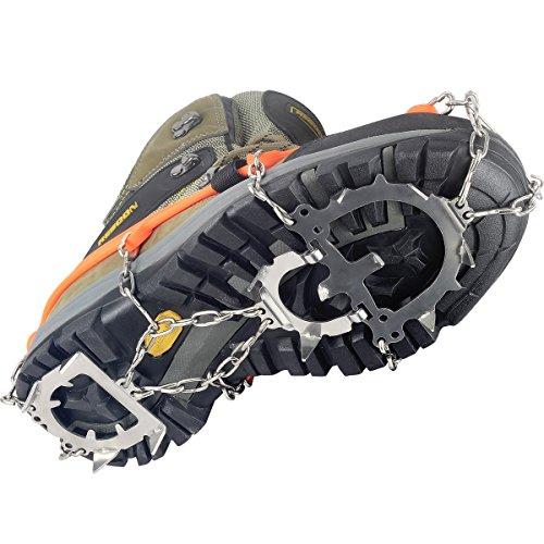 YUEDGE Unisex 12 Zähne Edelstahl Anti-Rutsch Ice Klampen Ice Greifer Schuh Stiefel Grips Steigeisen Schnee Spikes Griffe Traction Klampen L Orange -