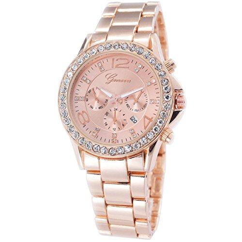 XLORDX Geneva Designer Datum Strass Damenuhr Rosegold Uhr Chronograph Optik Rose Rot Gold Rotgold Strassuhr