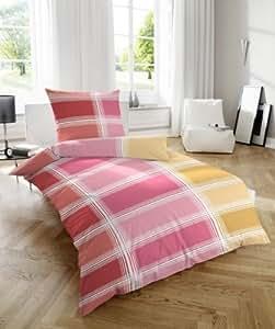2 tlg Mikro Seersucker Bettwäsche Garnitur Set Karo, Größe 135 x 200 cm Kopfkissen 80 x 80 cm, 100% Polyester, Farbe rot, mit Reißverschluss