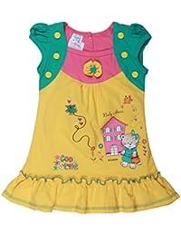 POPCORN Girls' A-Line Dress (Yellow, 3-4 Years)