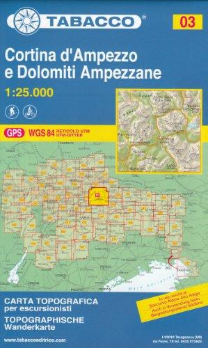 03 Cortina d'Ampezzo e Dolomiti Ampezzane 1:25.000 randonnée topographique, le cyclisme et ski de randonnée carte (Dolomites, Alpes)
