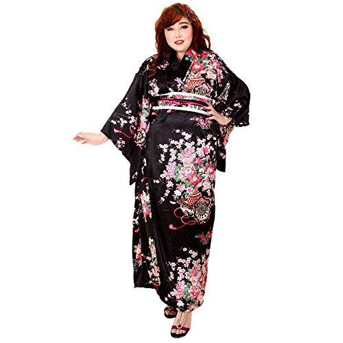 Sushi Sexy Kostüm - Princess of Asia Große Größen Japan Yukata Geisha Kimono + Obi Gürtel Cosplay Morgenmantel L XL Satin Schwarz