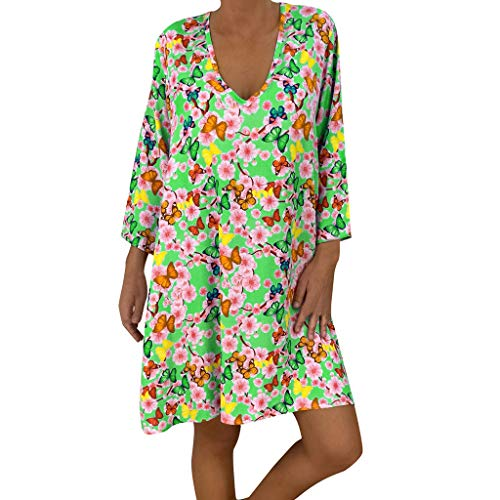 HHyyq Women Retro National Wind Loose Round Neck Dress Clothing Women's Summer Dresses Round Neck Short Sleeve T-Shirt Dress Floral Pattern with Pockets(Grün,L) (T-shirt Floral Pocket)