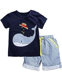Kaily Junge Sommer Baumwolle Kurzarm T-Shirt und Shorts Bekleidungsset Set