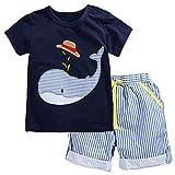 Kaily Junge Sommer Baumwolle Kurzarm T-Shirt und Shorts Bekleidung Set(2001TZ,4T)