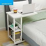 Schreibtische HAIZHEN Bett-Tabelle für Haus Oder Krankenhaus - Laptop-, Lese- und Frühstück-Wagen für bettlägerige Patienten 60 * 40 * 75CM Klapptisch (Farbe : Weiß)