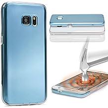 Urcover® Samsung Galaxy S6 Edge Plus | Funda Carcasa 360 Grados Ultra Slim Metálico | TPU en Azul | Case Cover Protección completa Smartphone Móvil Accesorio