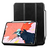 Toplive Luxury Cowhide Genuine Leather iPad Pro 12.9 Case (2018), [Support Apple Pencil Charging],Smart Stand Folio Case Cover for Apple iPad Pro 12.9 inch 2018 with Auto Sleep Wake Function,Black