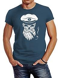 Neverless Herren T-Shirt Totenkopf Kapitän Captain Skull Bard Hipster  Original Spirit… 4eb1934f4c