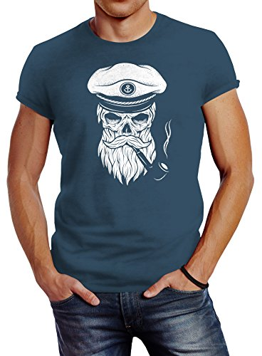 Neverless Herren T-Shirt Totenkopf Kapitän Captain Skull Bard Hipster Original Spirit Seemann Slim Fit Denim Blue XXL