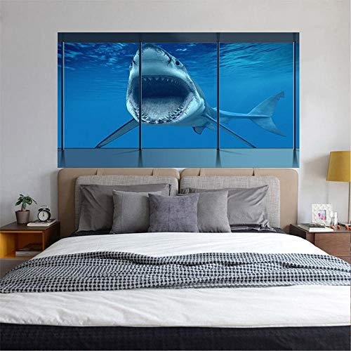 Kreative Wandaufkleber Große 3D Stereo Deep Sea Sharks Kopfenden Sofa Hintergrund Persönlichkeit Wohnkultur Wandbilder