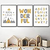 zszy Nordic Kids Room Cartoon Poster Letter Wall Art Nursery Canvas Poster Yellow Wall Paintings for Bedroom-40x60cmx3 pcs no frame