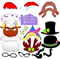 Accesorios Photocall Navidad Bodas Cumpleaños OULII 17 Piezas Gorros Máscara Gafas Disfraz Navidad