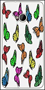 Snoogg Colorful Butterflies Designer Protective Back Case Cover For HTC M7