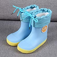 Unisex Kids,Fashion Cartoon Rainy Welington Boots Season Kids Cute Shoes Infant Children Blue PVC Waterproof Non-Slip Rubber Warm Boots Rain Shoes,24