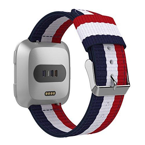 MoKo Armband für fitbit versa / Blaze, Nato Nylon Uhrenarmband Ersatzarmband Handgelenk band strap für Fitbit Versa Health & Fitness Smartwatch, Armbandlänge 125mm-190mm, Blau/Weiß/Rot