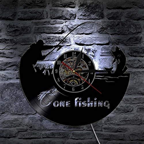 YJSMXYD Wanduhren,Uhren,Wecker Eine Fischerei Led Modernes Design Klassische Cd Uhr Retro-Stil 3D Ative Hängende Schallplatte Kann Gut Dekorieren Home Office Kaffee Bar Hotel
