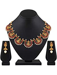 Shining Diva Fashion Latest Designs 18k Gold Plated Wedding Party Wear Stylish Traditional Choker Necklace Jewellery Set for Women