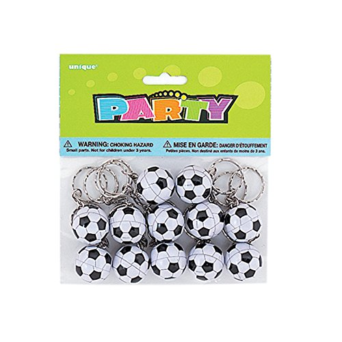 Football Key Rings Party Bag Fillers, Pack of 12