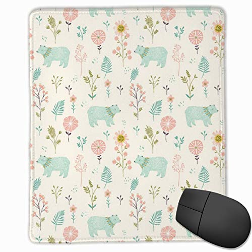 Garden Bears Mouse Pad Custom Design Gaming Mouse Mat Computer Mouse Pads with Non-Slip Neoprene Backing 9.8 X 11.8 inch (25 X 30 cm) - Bear Garden