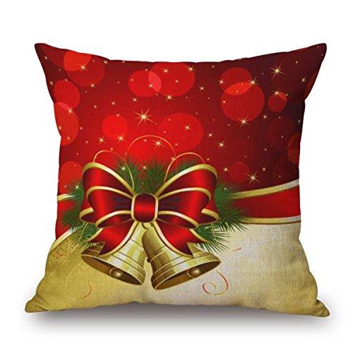 gillberry Weihnachten Leinen Quadratisch Überwurf Flachs Kissen Fall dekorative Kissenbezug, Leinen-Mischgewebe, Beige H, Einheitsgröße