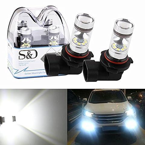 S&D - 2ampoules H7, 100W, DC 12V ~ 24V à 360° - LED CREE 20SMD - Ampoules Lampochka antibrouillards blancs et éclairage arrière de stationnement