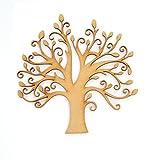 Stammbaum aus MDF-Holz, Baum mit Knospen, ideal für Familien-Stammbaum, für Basteln & Hochzeit, inkl. 10x Herz-Formen und