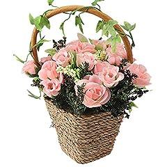 Idea Regalo - RERXN, cesto di fiori artificiali in seta, decorazione per casa, matrimonio, festa Pink