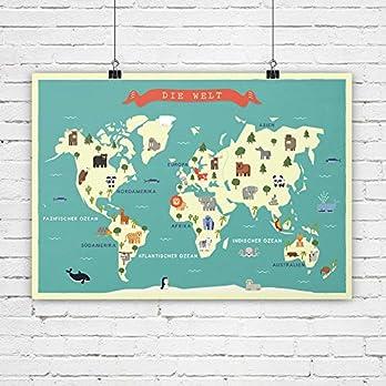 Weltkarte, Kinderzimmer Bild, Karte, Poster, Tiere, Bild, Kinderzimmer Deko, Bild für Kinder, Kunstdruck, Bild für…