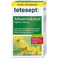 tetesept Johanniskraut Kapseln 500 mg – Kapseln zur Stabilisierung bei innerer Belastung - verbessern das Befinden und kräftigen die Nerven – 5 x 100 Stück
