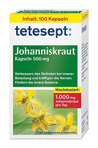 tetesept Johanniskraut Kapseln 500 mg/Kapseln zur Stabilisierung bei innerer Belastung - verbessern das Befinden und kräftigen die Nerven/5 x 100 Stück