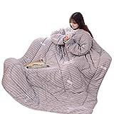 cinnamou-Winter Lazy Quilt mit Ärmeln, Decke, Jahreszeiten Schlafsack, Lazy Quilt mit Ärmeln (180 x 220cm, D)