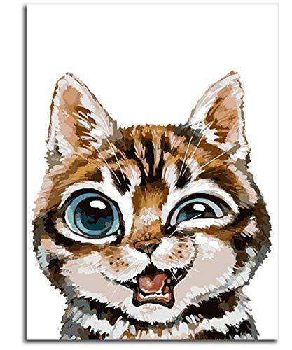 Malen Nach Zahlen DIY Cartoon Niedlichen Großen Augen Katze Einfache Home Decor Für Erwachsene-No Frame
