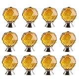 FBSHOP(TM) 12x Neu Gelb 30mm Kristallglas Kugel-Form Moebelgriffe Schrankknöpfe Griff Knopf Schrank griff Tür der Schublade , Schrank , Kleiderschrank