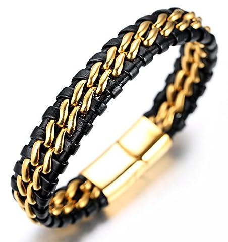 """Halukakah «HONNEUR»:Le Bracelet de l'homme en Cuir Véritable Noir avec double Chaîne Argent,8.46 """"/ (21 .5cm )avec le Boîte-cadeau Gratuit"""