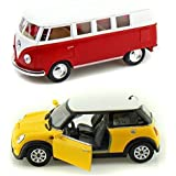 Playking Kinsmart Combo Of Miniature 1962 Volkswagen Classical Scale Model Bus 1:32 And Mini Cooper S 5'' Die Cast Metal, Doors Openable And Pull Back Action Car (Color May Vary)