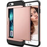 Coque iPhone 6S, iPhone 6 Coque, Coolden® housses de protection en armure Housse de protection à double couche antidérapante Slim Fit Card Slot Holder pour iPhone 6 6S Rose