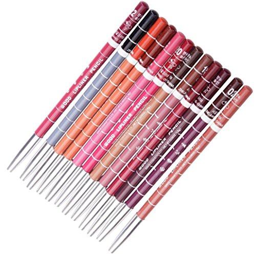 Generische 12 Farben Professionelle Lipliner Wasserdichte Lip Liner Lippenstift Lippenkonturenstift mit Deckel 15CM (zufällig)