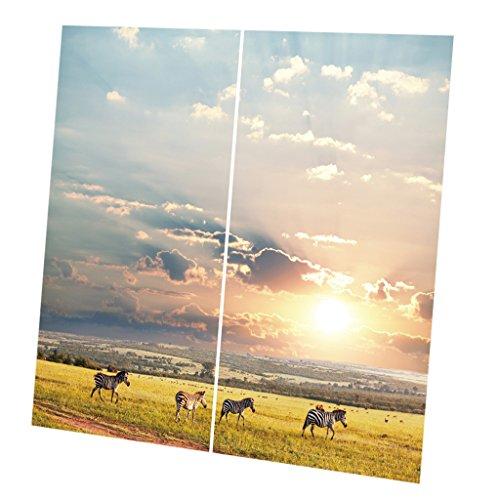 D DOLITY 2pcs 3D Tiere Verdunkelungsvorhang Blickdicht Vorhang Set - Zebra (Zebra Tier Vorhang-set)