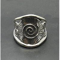 Anello in argento sterling 925 massiccio con grande regolabile misura