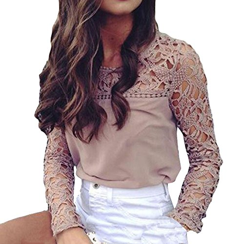Junjie Clearance Frauen Sexy Bluse, Langarm Pullover Damen O-Ansatz Soild Fashion Spitze Crop Top Streifen Halter Pullover Kurz Shirt...