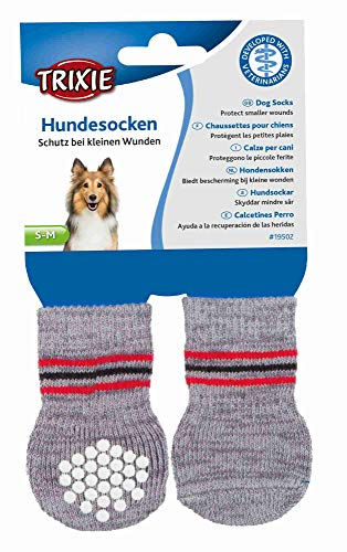 Trixie 19502 Non-Slip Grey Dog Socks, S-M, 1 Pair