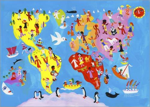 Leinwandbild 100 x 70 cm: Illustrierte Weltkarte mit fröhlichen Menschen von Ikon Images / Mauritius Images - fertiges Wandbild, Bild auf Keilrahmen, Fertigbild auf echter Leinwand, Leinwanddruck