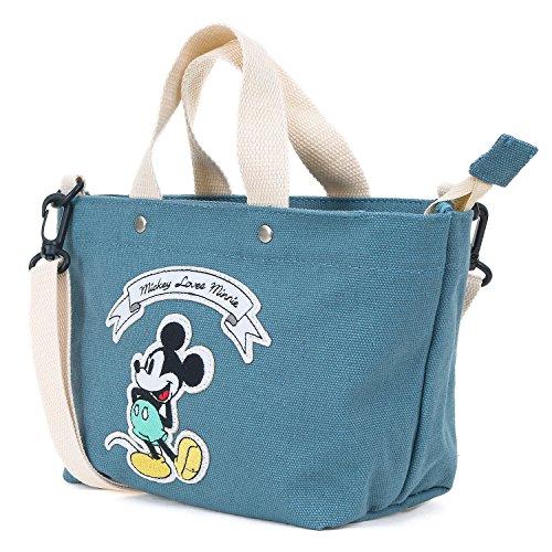 ililily Disney Mickey Mouse Patch Cotton Canvas Shoulder Small Handbag Greenish Blue