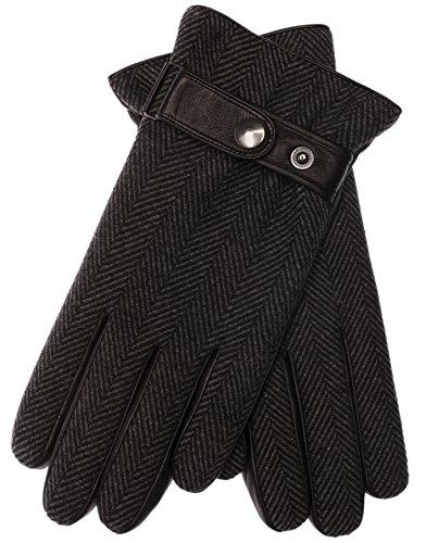 EEM Herren Lederhandschuh CHARLIE gefertigt aus echtem Leder mit Knopfriegel und Filzoberstoff; fishbone L