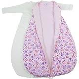 Baby 2-in-1-Schlafsack-Set,Blümchenblätter, wattiert + warm gefüttert für kühlere Tage, 4-Jahreszeiten-Baumwolle Größe 62/68