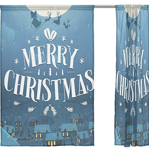 jstel Merry Christmas 2pezzi Voile tenda di finestra, BLU NOTTE DI NATALE, Tulle Sheer Curtain Drape Valance 139,7x 198,1cm Set di due pannelli, Poliestere, Blue, 55x78x2(in) - Tropical Luce Di Notte