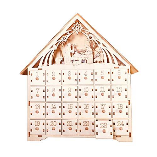 JIACUO Adventskalender aus Holz mit LED-Licht
